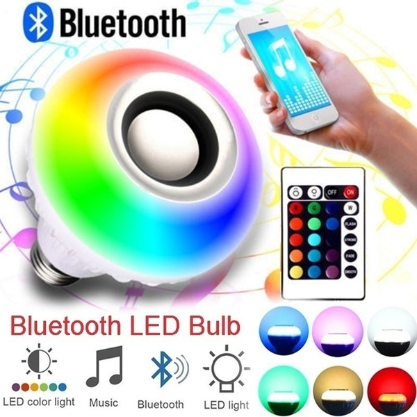 LED RGB Color Bulb Light E27 Control Smart Music Audio Speaker Lamps
