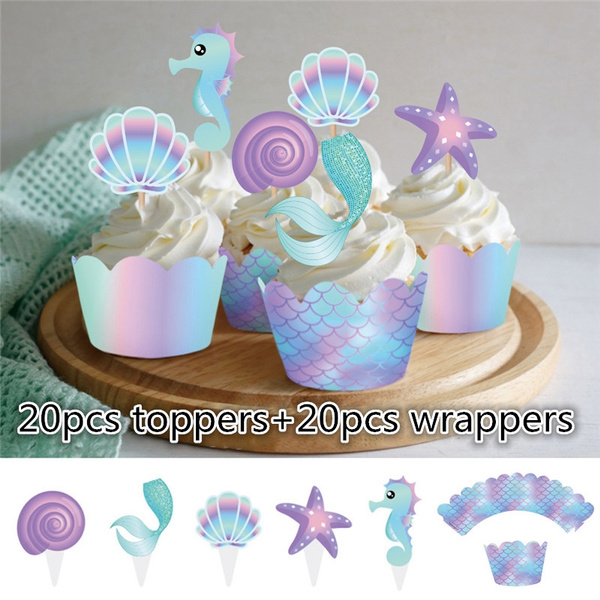 40pcs Mermaid Cake wrappers Baby Shower Wedding Party Cake Topper Birthday  Cupcake Decorating Supplies