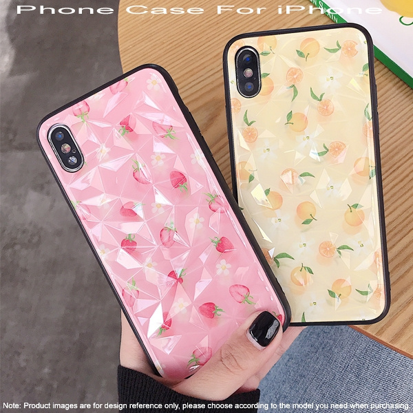 Phone Case For Iphone 6 6s 7 8 Plus Xs Cartoon Strawberry Lemon Phone Cover 3d Diamond Pattern Cases For Iphone X Xr Xs Max