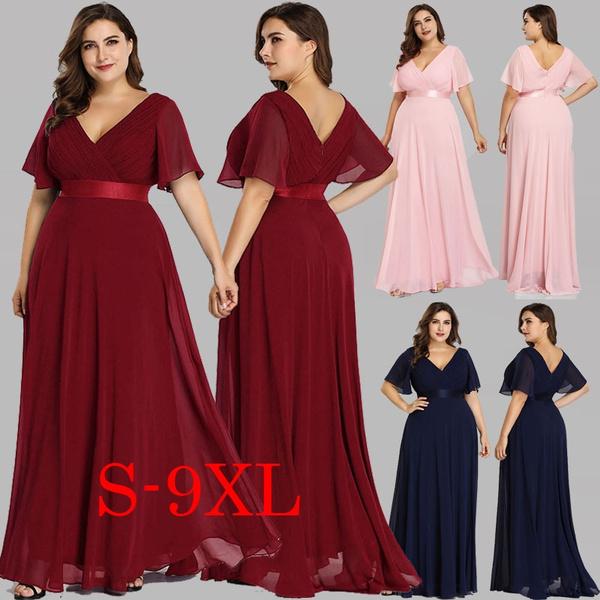 Plus Size S-9XL Dresses Elegant Wedding Guest Dresses Women Fashion V-Neck  Ruffles Long Chiffon Evening Bridesmaid Dress