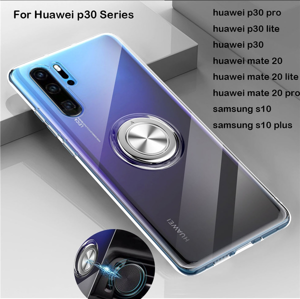 huge selection of 5c214 533c0 Transparent Shockproof Case For Huawei P30 Pro P30 Lite P20 Mate 20 Armor  Metal Ring Stand Back Cover Huawei P30 Case P20 Pro