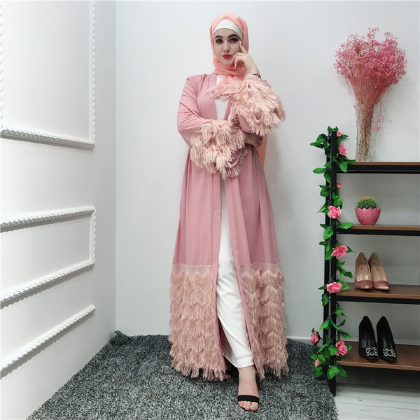 2019 Women Tassel Lace Dresses Kimono Cardigan Robe Dubai Turkey Muslim Hijab Dress Kaftan Abayas For Women