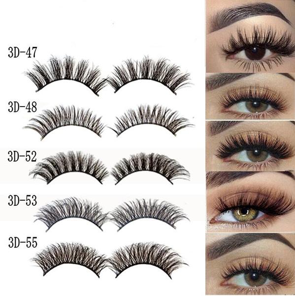 5Pairs 3D Natural False Eyelashes Long Thick Mixed Fake Eye Lashes Makeup  Mink  Wish