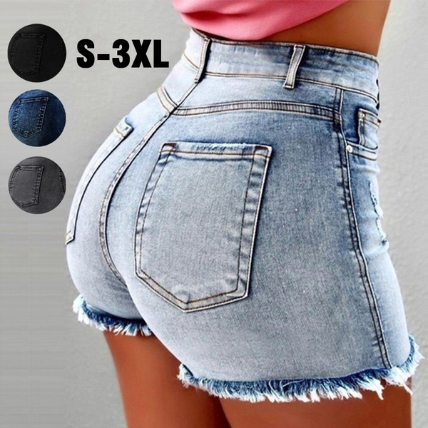 418775c049 Ripped Edge Women Denim Shorts Tassel Hole High Waist Denim Jeans   Wish