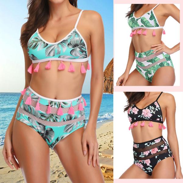 Summer Beach Latex Tassel Waist Teen Women's Bikini Swimsuits Pool Girls Swimwear High 354RjAL