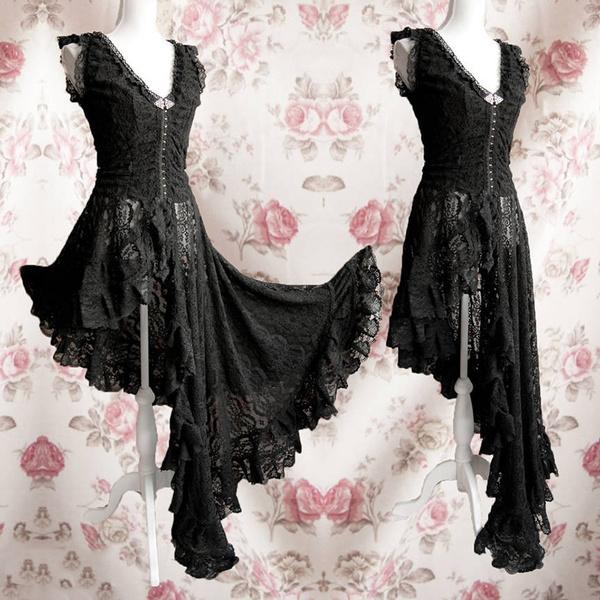 Women Gothic Irregular Lace Dress Black Lace Flare Sleeve Victorian Dress  Edwardian Vampire Dress Plus Size Cosplay Dress