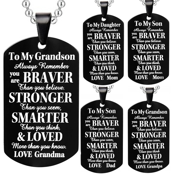 To My Son Daughter Grandson Granddaughter Necklace From Mom Grandma  Stainless Steel Dog Tag Pendant Necklace Keepsake Graduation Wedding  Birthday