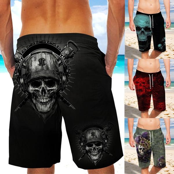 Summer, elastic waist, skullprintshort, beachpantsmen