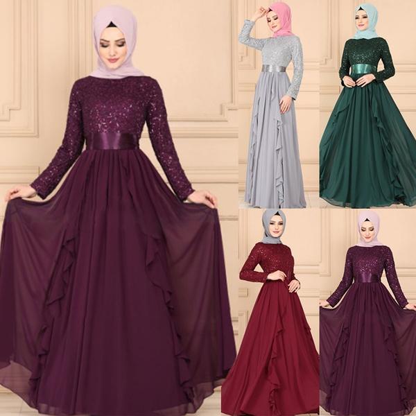 adace861d2 Fashion Women Abaya Koran Muslim Kaftan Hijab Burqa Sequin Lace Long ...