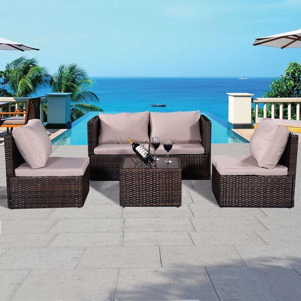 tressée nature en marron salon Résine 5pcs Ensemble rotin meubles de assise jardin poly l3uF1JTKc