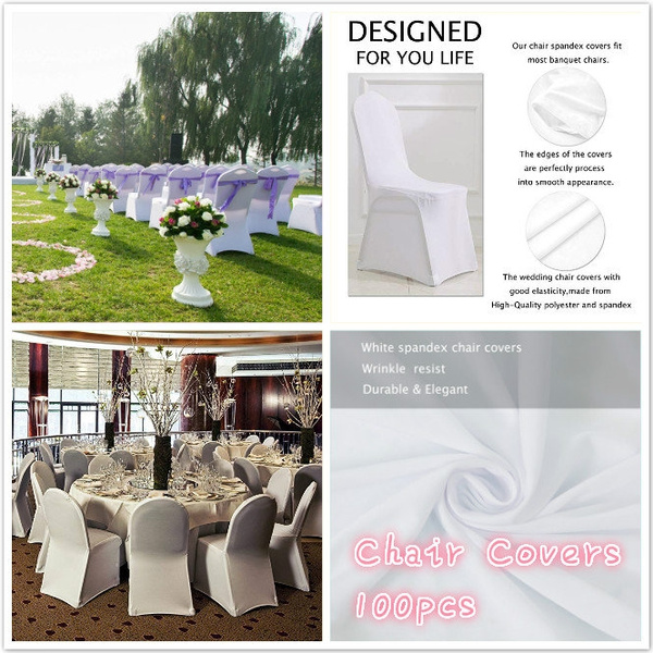 Groovy New 100 Pcs White Color Polyester Spandex Chair Covers Modern Thickening Stretchy Slipcover For Wedding Banquet Anniversary Party Home Decoration Alphanode Cool Chair Designs And Ideas Alphanodeonline
