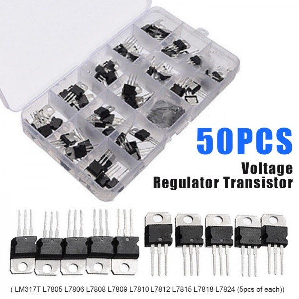 50pcs 10 Value Voltage Regulator Transistor Kit L7810 L7812 L7815 L7818 L7824