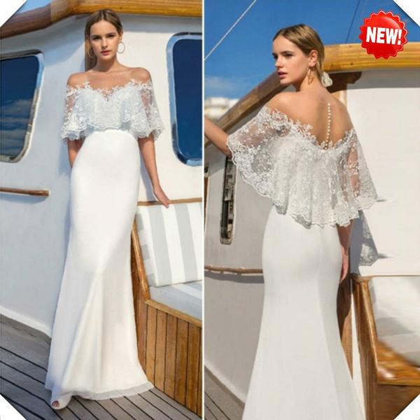 2019 Women Summer Lace Long Wedding Dresses Vinatge Elegant Party Night Bodycon White Dress