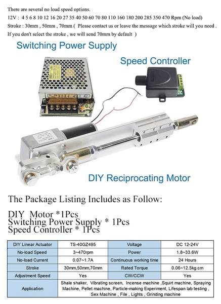 DIY Design DC 24V 12V Linear Actuator Reciprocating Electric Motor Stroke  +Switching Power Supply 110V-240V+PWM Speed Controller