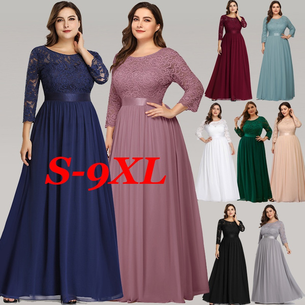 PLUS SIZE DRESS FOR WOMEN Elegant Chiffon Half Sleeve Lace Bridesmaid Dress  Party Floor Length Evening Prom Ball Gown Maxi Dresses S-7XL