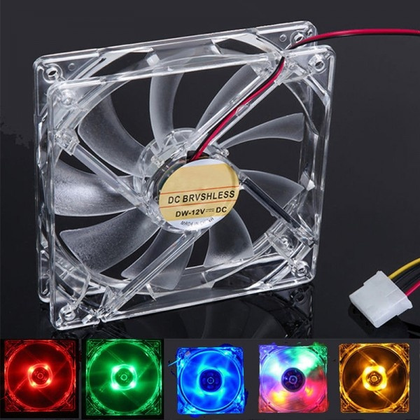 9-Blade 4 Pin 120mm PC Computer Clear Case Quad 4-LED Light CPU Cooling Fan 12cm