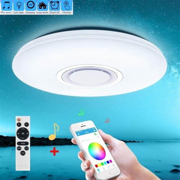 Modern LED Ceiling Lights RGB Dimmable 24W Smart Phone APP Remote Control  Bluetooth Music Light Foyer Baby Bedroom Starry Sky Effect Ceiling Lamp