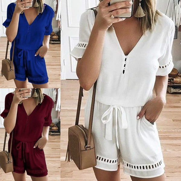 Summer, Women Rompers, looseblouse, summer shorts