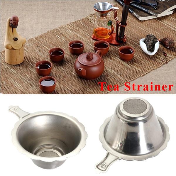 New Kitchen Leaf Teaware Stainless Steel Fine Mesh Tea Strainer Funnel Filter