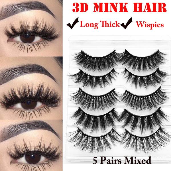 d04249900c9 SKONHED 5 Pairs Beauty Makeup Feathered Effect Handmade Fluffy Wispies False  Eyelashes Crisscross 3D Mink Hair Eye Lash Extension Lashes Big Eye Makeup  Fake ...