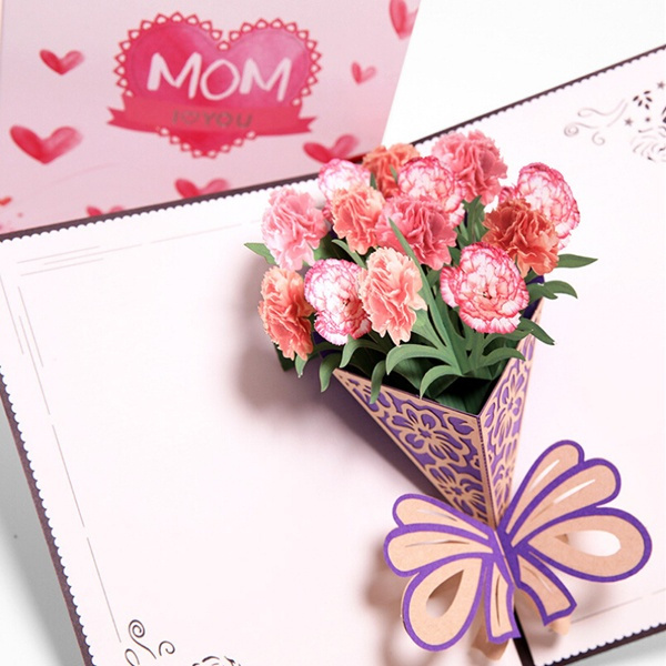 Flowers Mother/'s Day Birthday Card Pop Up Gift Card 3D Handcrafted Mother Mum