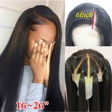 Black wig, wig, deeppart, human hair