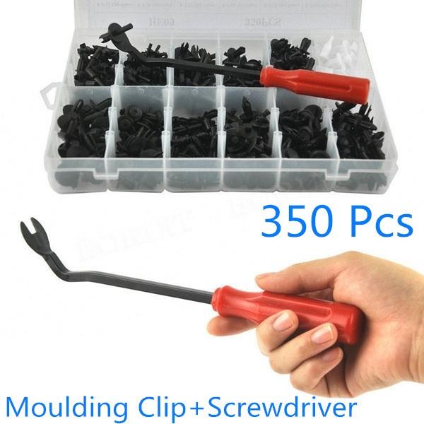 350 Clips Tool Car Body Retainer Push Rivet Trim Moulding Fastener Screwdriver