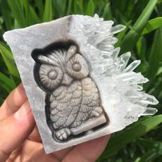 Owl, quartz, skull, owlskull