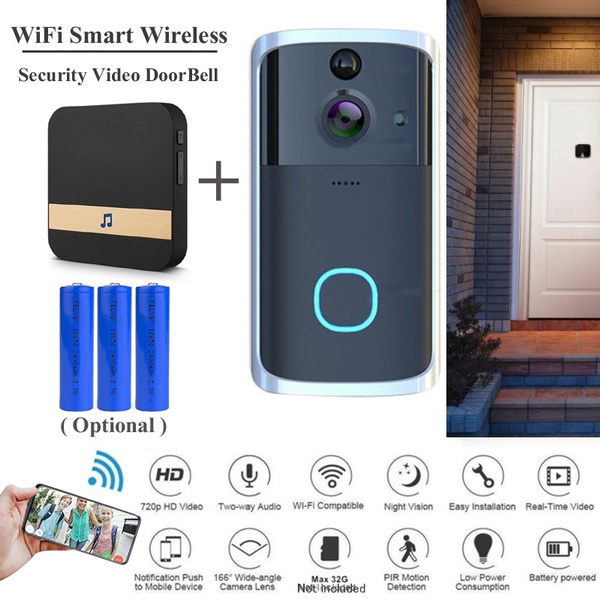 Wireless Battery WiFi Video Doorbell Low Power HD W// Two-way Talk Home Security