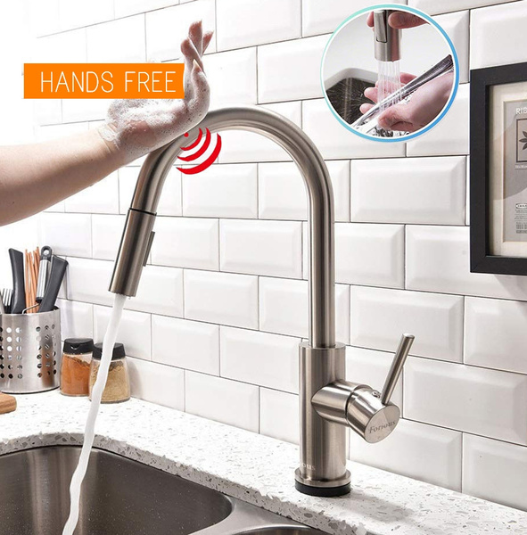 Brushed Nickel/Black Stainless Steel Pull Out Sensor Kitchen Faucet  Sensitive Touch Control Faucet Mixer Touch Sensor Kitchen Tap