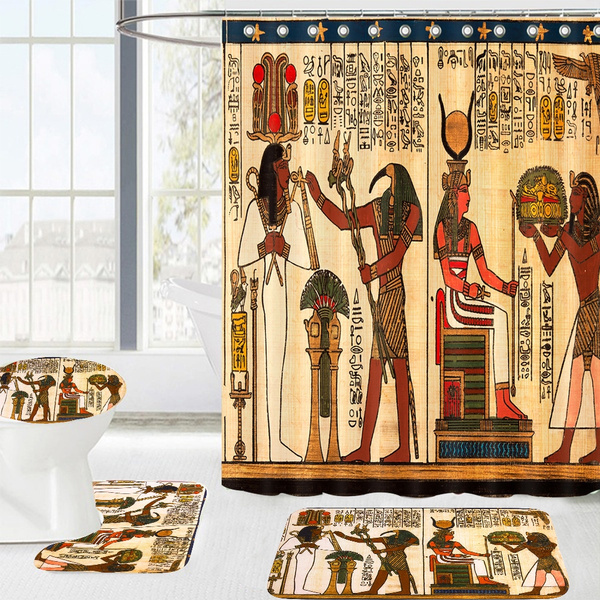 """Egyptian Queen and Papyrus 71X71/"""" Fabric Shower Curtain Mat Rug Bathroom Decor"""