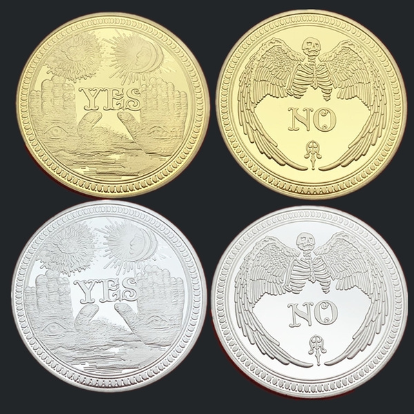 Embossed YES or NO Decision Commemorative Coins, Gold-plated Coins and  Silver-plated Coins, Sun Moon Angel Devil Decision Coins, Good or Evil Coins