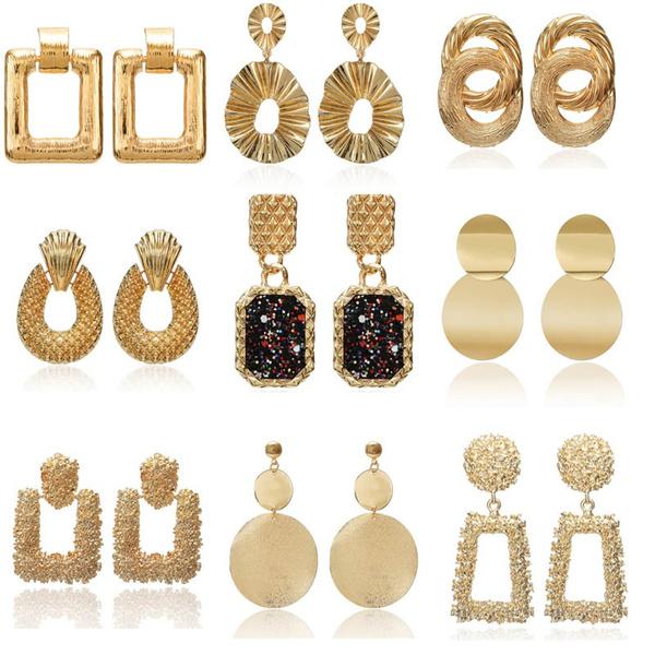 golden, Fashion, vintage earrings, Earring