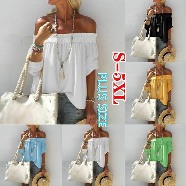 blouse, Summer, Pure Color, Loose