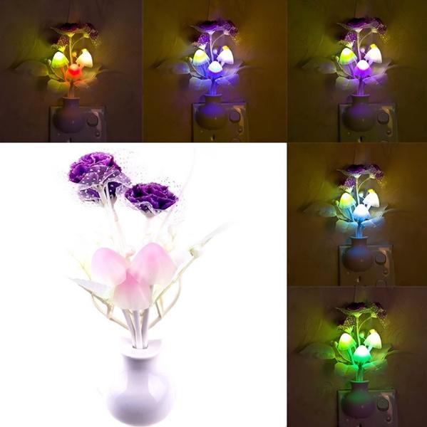 Lovely Colorful LED Lilac Night Light Lamp Mushroom Romantic Lilac Night