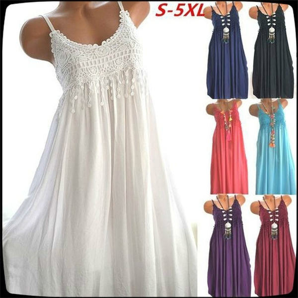 Summer Fashion Casual Women Plus Size Printing Sleeveless Sun Dress Floral  Printed Tunic Dress(Size: S~5XL)