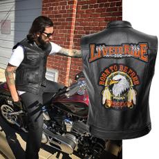 motorcyclejacket, Vest, leathervestformen, Men's Fashion