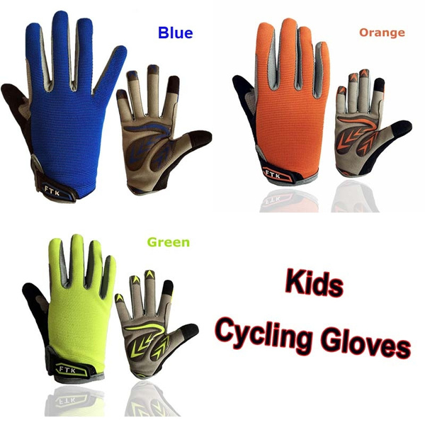 Cycling Gloves Kids Full Finger Pair Boys Girls Bike Bicycle Breathable  Touchscreen Grip Outdoor Mountain 2-11 Years Old