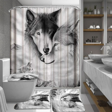 Decor, Bathroom Accessories, wolfshowercurtain, Waterproof