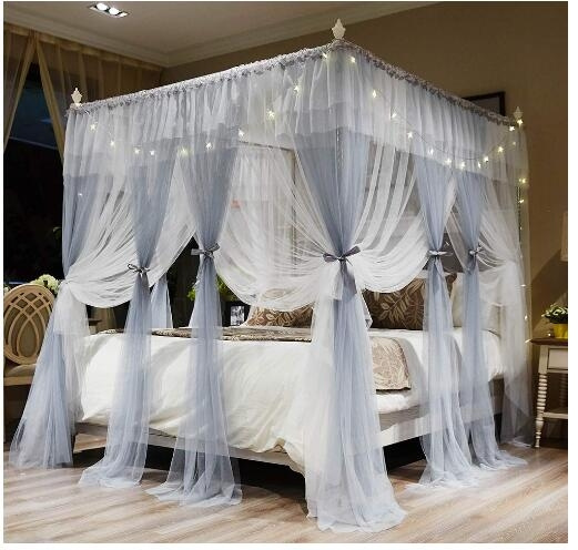 4 Corners Post Canopy Bed Curtains For