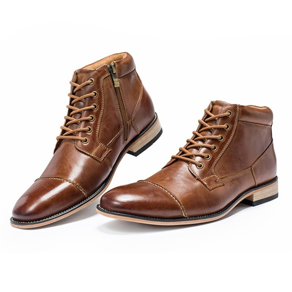 Leather Lace Up Martin Boots Mens Dress Boots Mens Business Casual Boots Wedding Shoes