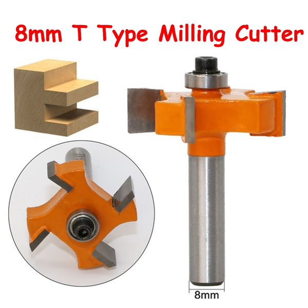 8mm Shank T Type Bearings Wood Milling Cutter Industrial Grade Rabbeting Bit Woodworking Tool Router Bits