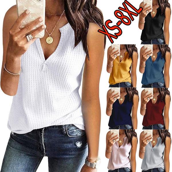 Summer, Vest, Plus Size, vnecktop