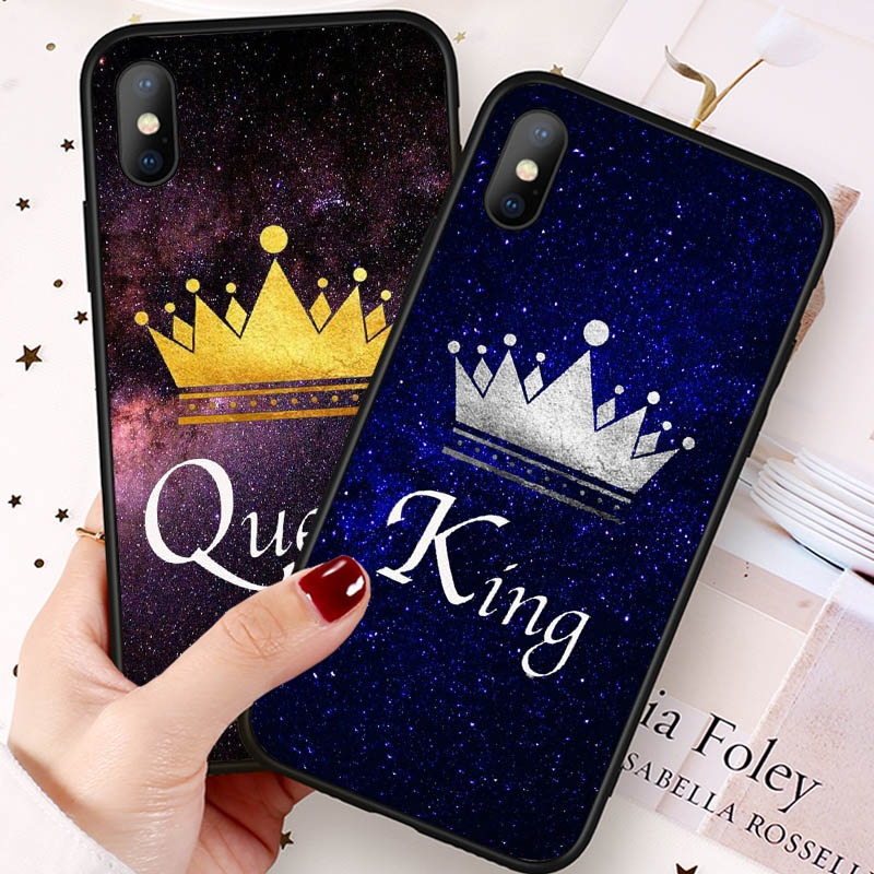 dd833037b4 For iPhone 7 8 X Samsung S8 S7 Huawei P20 King Queen Couple Phone Back Cover  BR