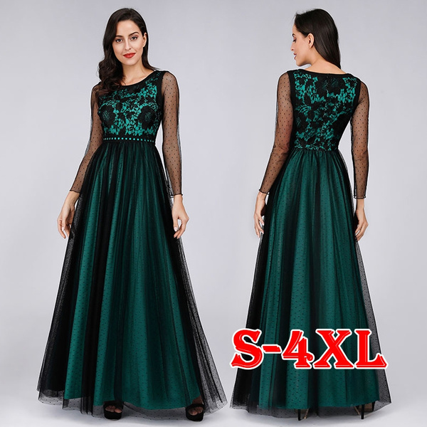 Plus Size S-4XL New Women\'s Fashion Dress Long Sleeves with Embroidered  Lace Dark Green Women Wedding Guest Dresses