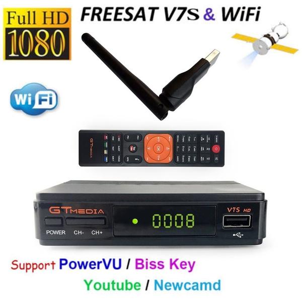 Receptor Satelital GTMedia V7S FREESAT FULL HD 1080p dvb-s2 RT5370 Antena  WIFI