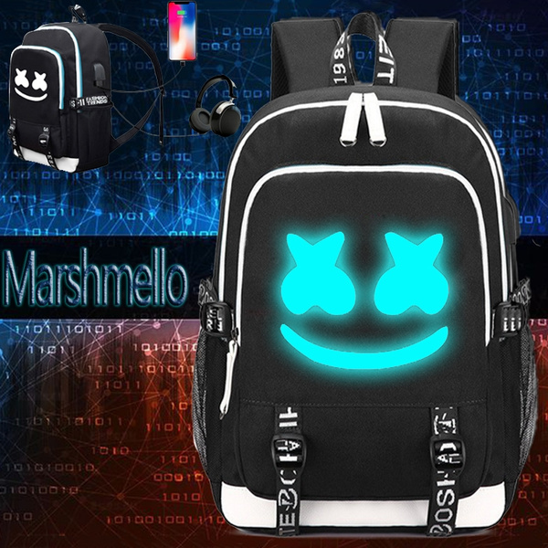 0978fcd8c07e Marshmallow Backpack Luminous DJ Marshmello with USB Charging Port Fashion  Travel Laptop Backpack Students School Bag