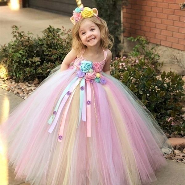 Girls Princess Unicorn Tutu Dress Rainbow Flower Birthday Party Dresses for Kids