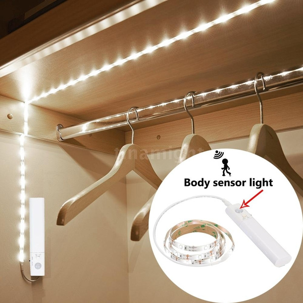 Smart Turn ON OFF PIR Motion Sensor & USB Port LED Strip Light Powed by AAA  battery or USB Flexiable adhesive lamp tape For Closet Stairs Kitchen