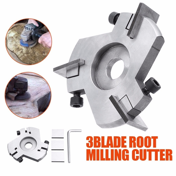 Grinder Disc Wood Carving Woodworking Detachable 3Blade Root Milling Cutter Tool